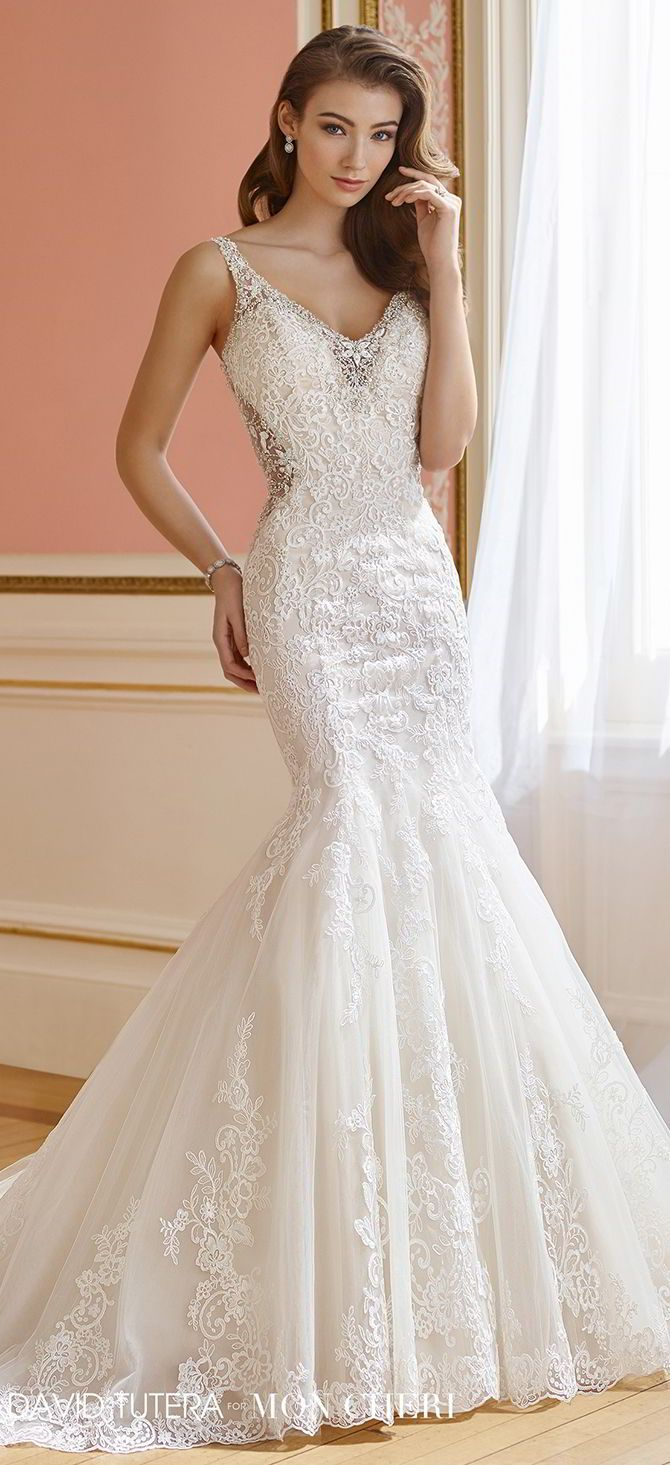 93c032a08e4 Sleeveless tulle and corded Alencon lace fit and flare gown with  hand-beaded illusion shoulder straps
