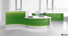 VALDE Countertop Curved Reception Desk, High Gloss Lime by MDD Office Furniture | SohoMod.com. Straight, convex and concave elements are at your disposal in any of the numerous wavy, circular and upright arrangements, which perfectly create the feeling of style and integrity for the reception area #sohomod