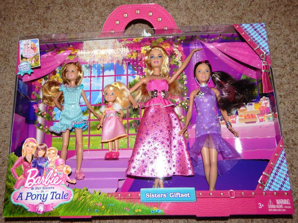 new barbie a pony tale sisters gala gown giftset 4 dolls stacie skipper chelsea bedroom furniture barbie ken