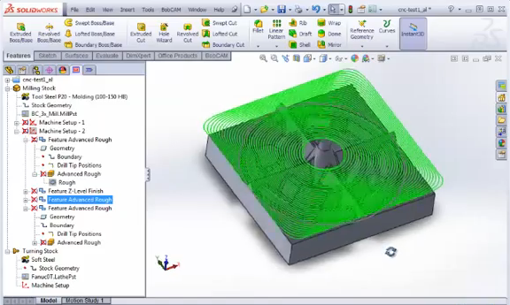 BobCAM for Solidworks CAM software: Adaptive Roughing