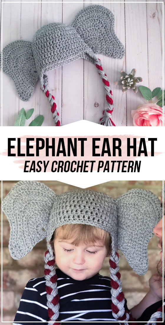 crochet Elephant Ear Hat pattern in 2020 (With images ...