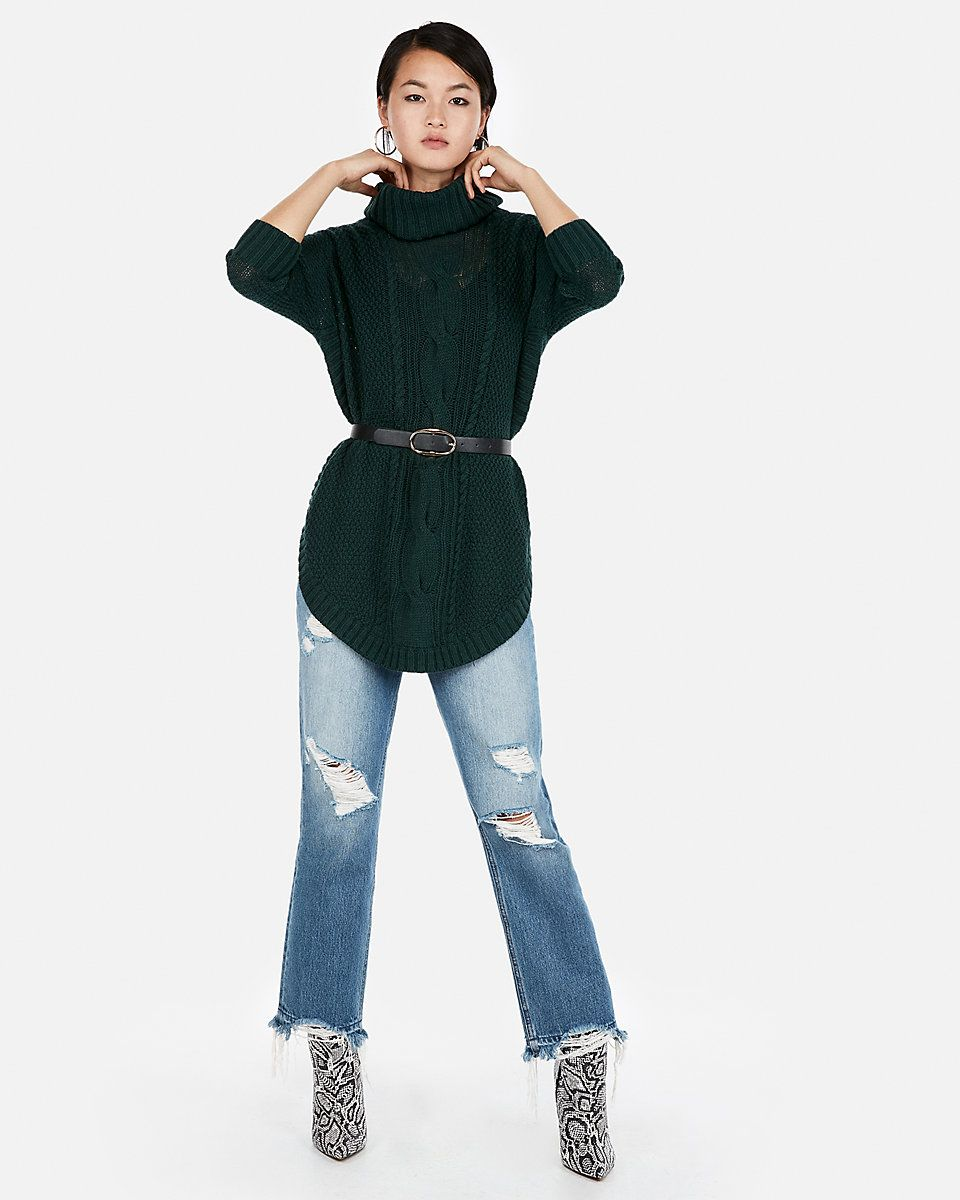 Cowl Neck Cable Knit Circle Hem Sweater Express Hem Sweater Simple Outfits Sweaters For Women