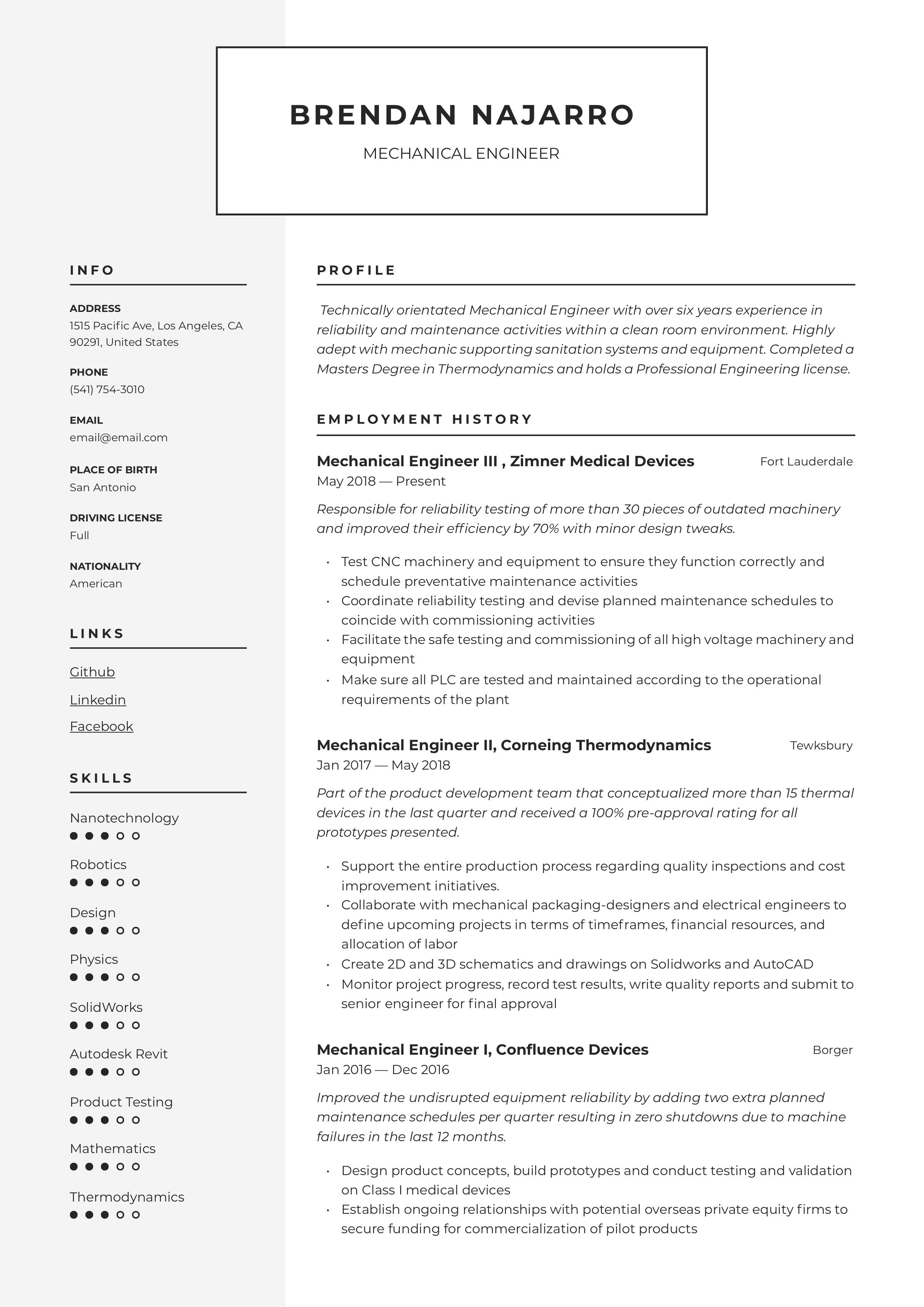 Professional Mechanical Engineer Resume, template, design