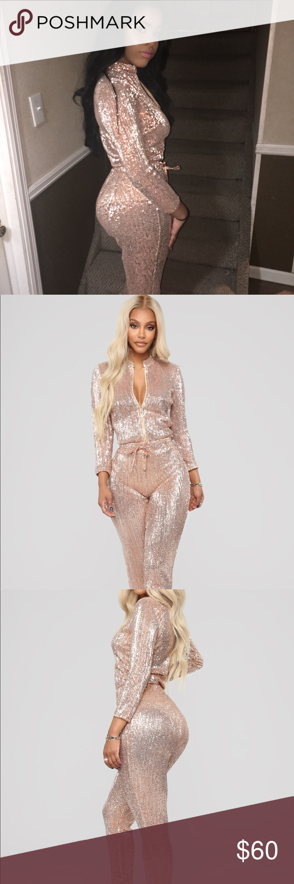 920f4c7676b Is This Star Taken Sequin Jumpsuit Rose gold sequin jumpsuit Only tried  on!! Brand New Fashion Nova Pants Jumpsuits   Rompers