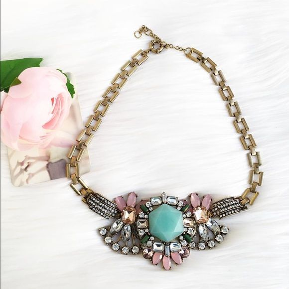 Stunning pastel statement Necklace Beautiful necklace from Jcrew factory. In excellent condition :) J. Crew Jewelry Necklaces