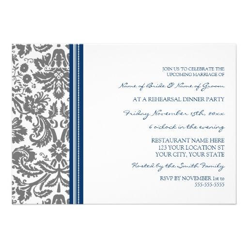 Blue Grey Damask Rehearsal Dinner Party Personalized Invites
