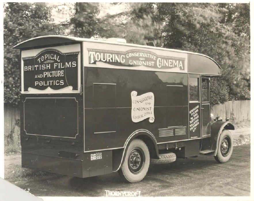 """Photographs of mobile cinema, undated [1929?] The """"mobile"""