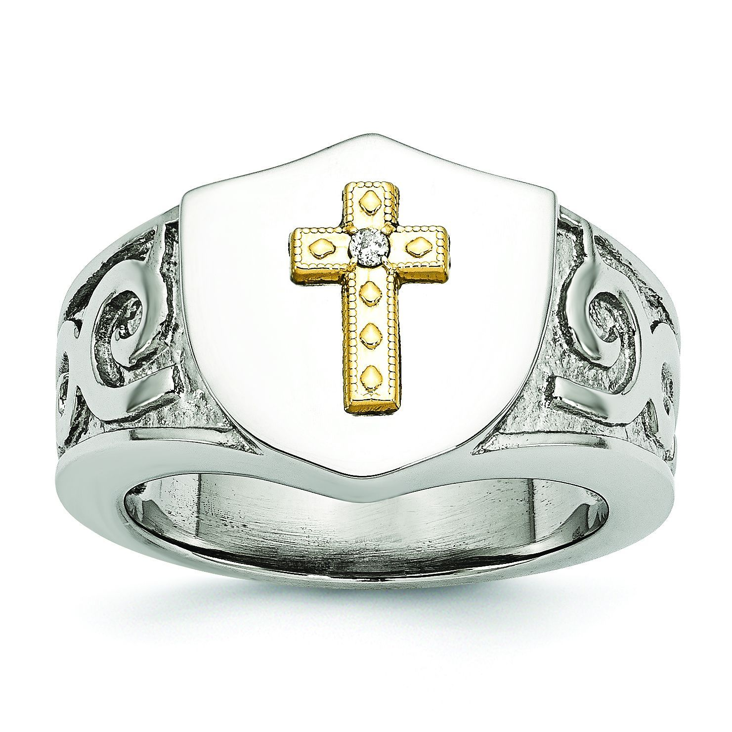 Chisel Versil Stainless Steel with 10K Gold Cross and .02ct Diamond Polished Ring (Size 10), Men's, Two-Tone