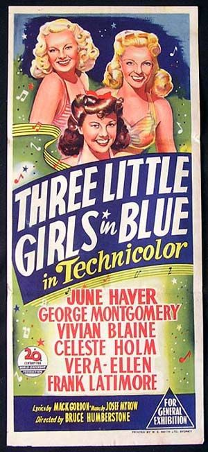 1946 western movie posters | THREE LITTLE GIRLS IN BLUE Movie Poster 1946 June Haver RARE daybill ...