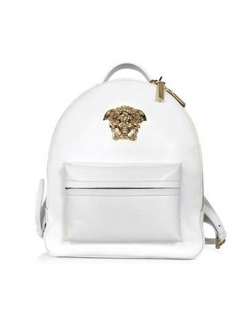 MEDUSA PALAZZO WHITE NAPPA LEATHER BACKPACK VERSACE