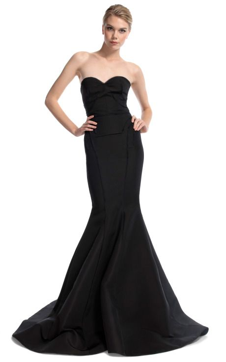but in white! Front view. Black Strapless Evening Gown by Zac Posen ...