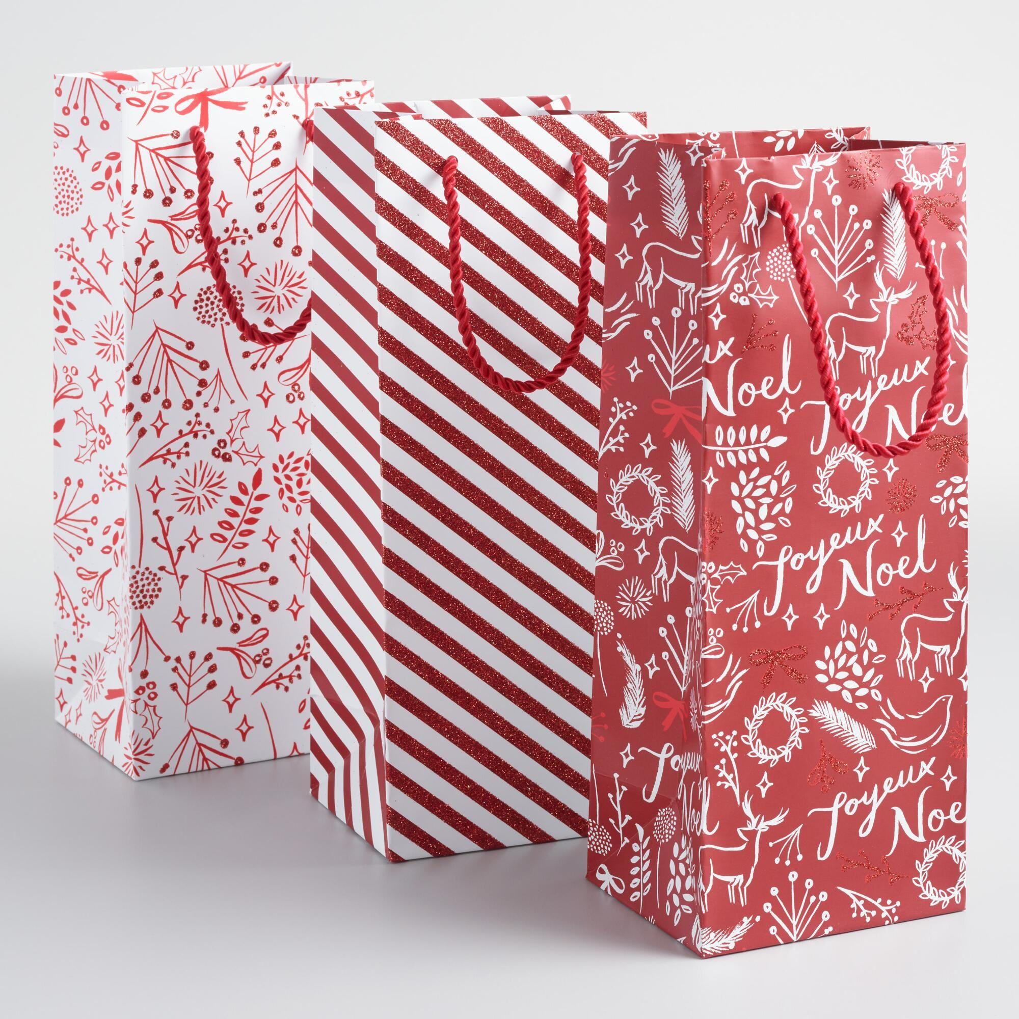 Red And White Wonderland Wine Bags Set Of 3 Holiday Gift Bag Wine Bag Christmas Gift Bags