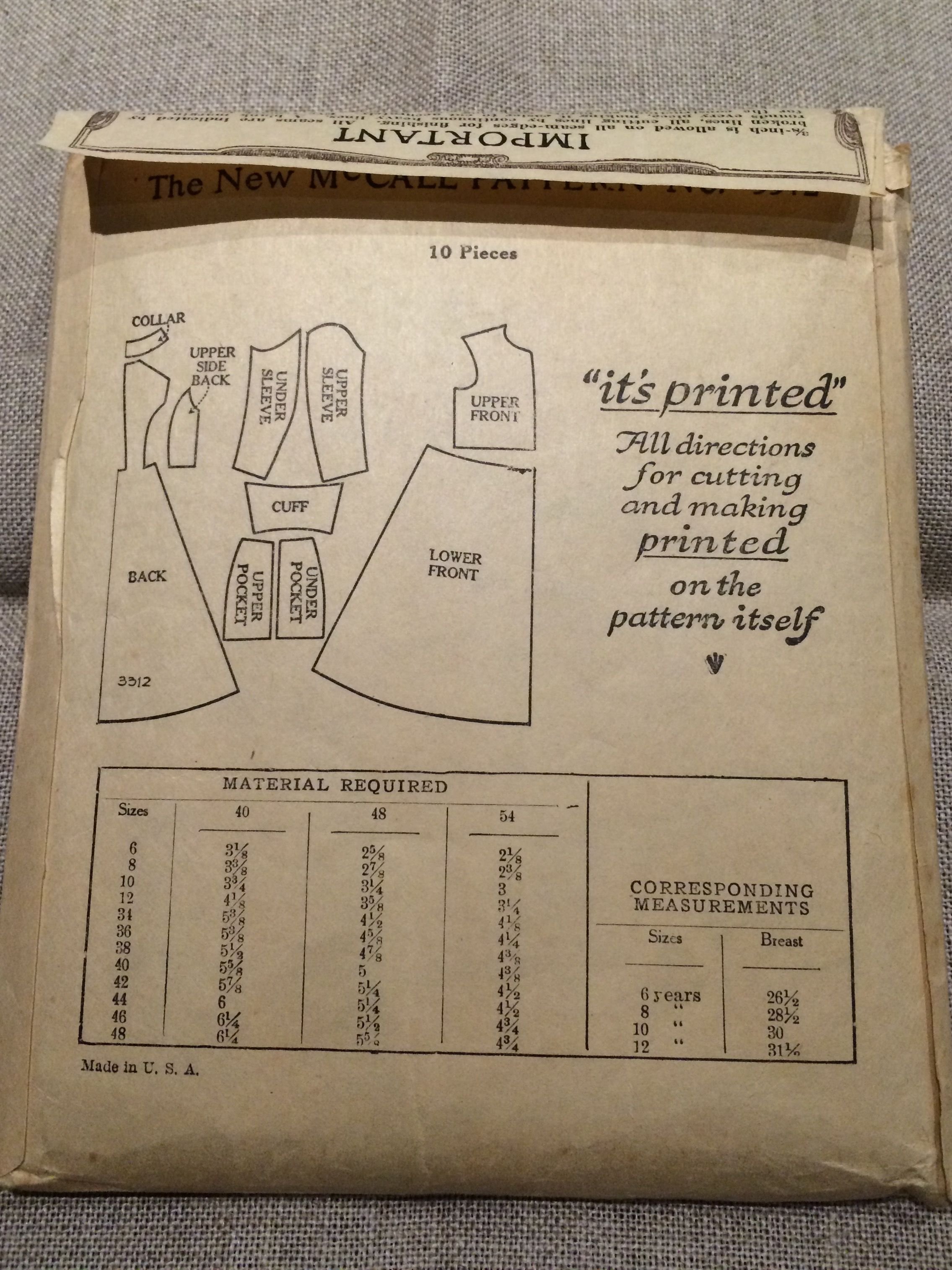 Cassock McCall Pattern 3312 information | Sewing Patterns (Already ...