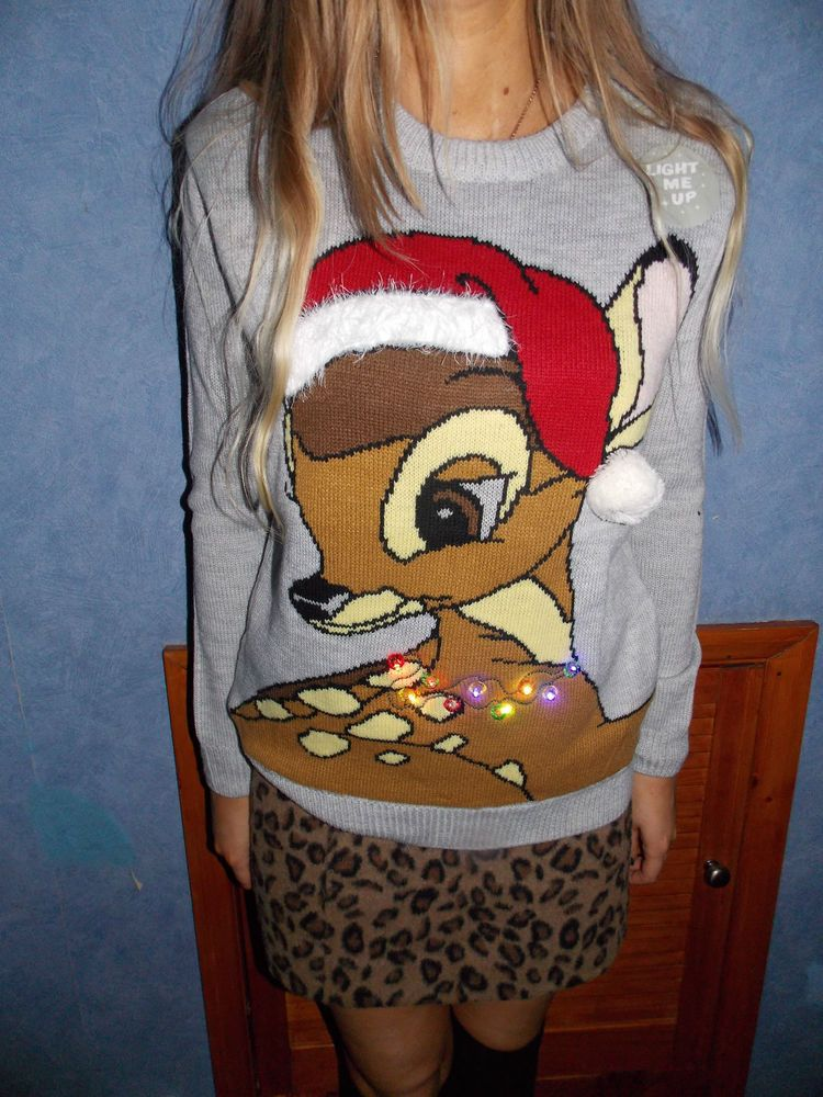 da1cc652d4 Primark DISNEY BAMBI LIGHT UP CHRISTMAS JUMPER Santa Hat Sweater  Primark   Jumpers Checkout my page for all kids of sweater