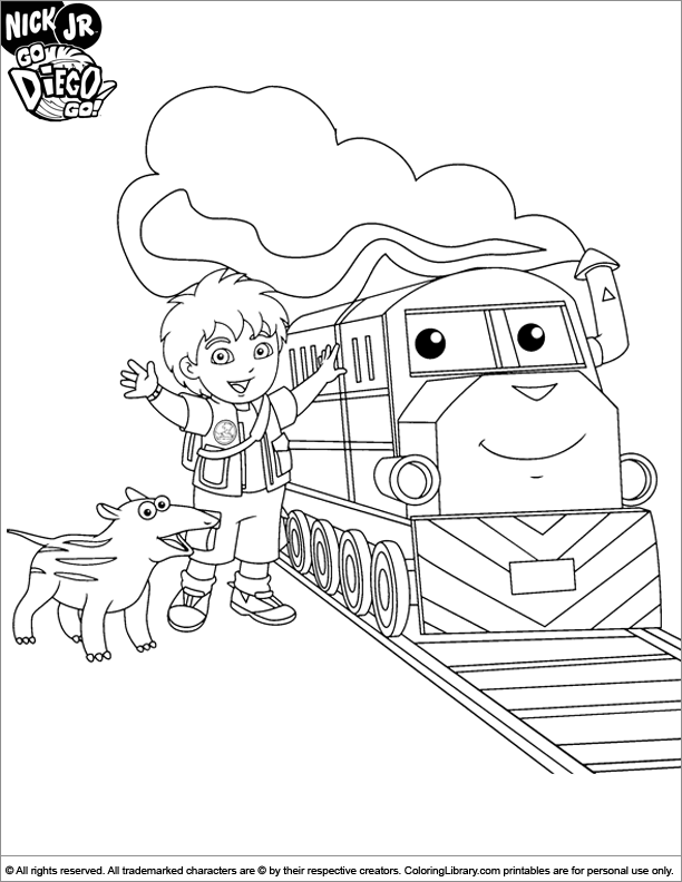 Go Diego Go coloring sheet Diego and a cool train | Coloring pages ...