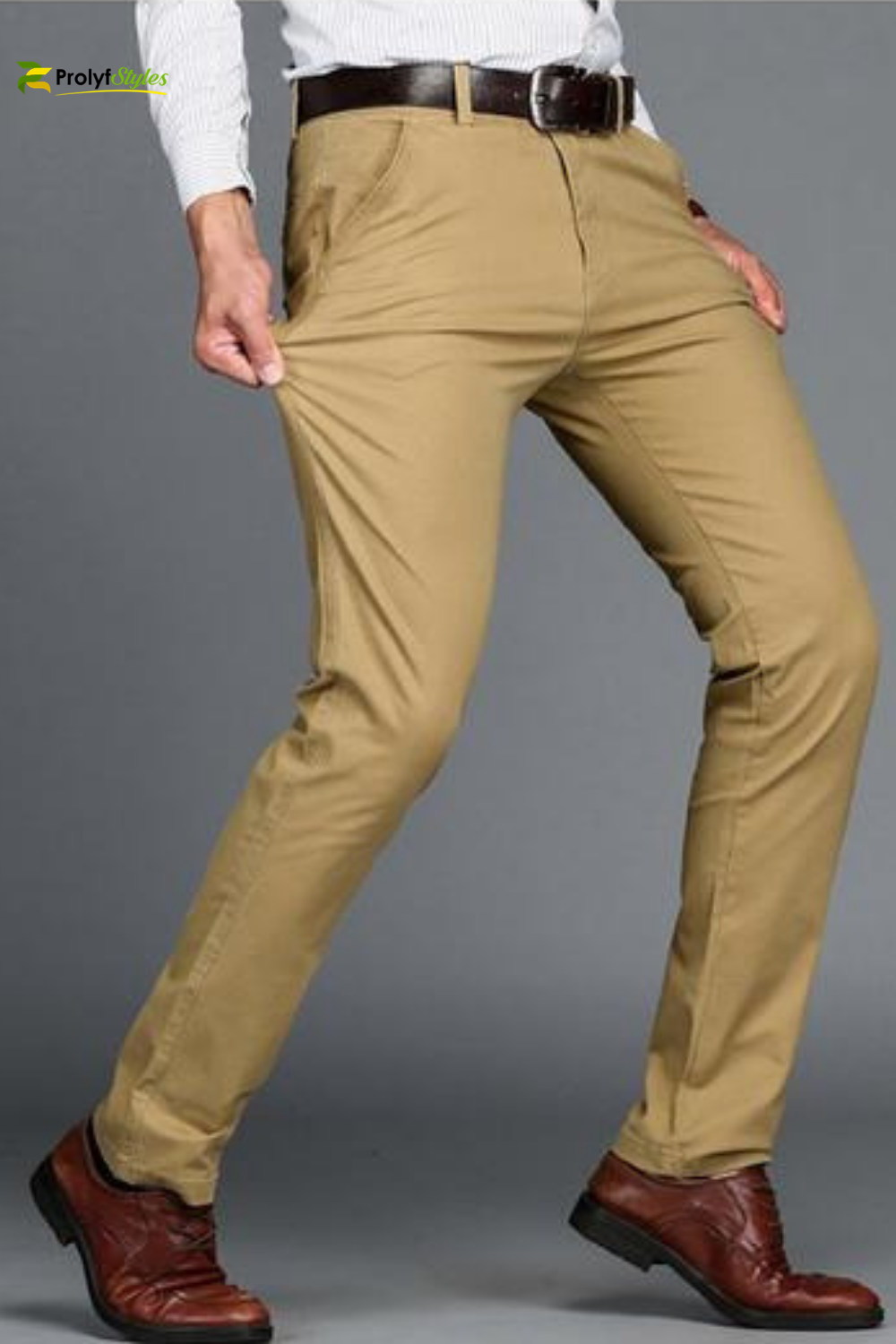 Men Twill Pants Casual Fit Trousers Formal Business Chino Long Straight Trousers