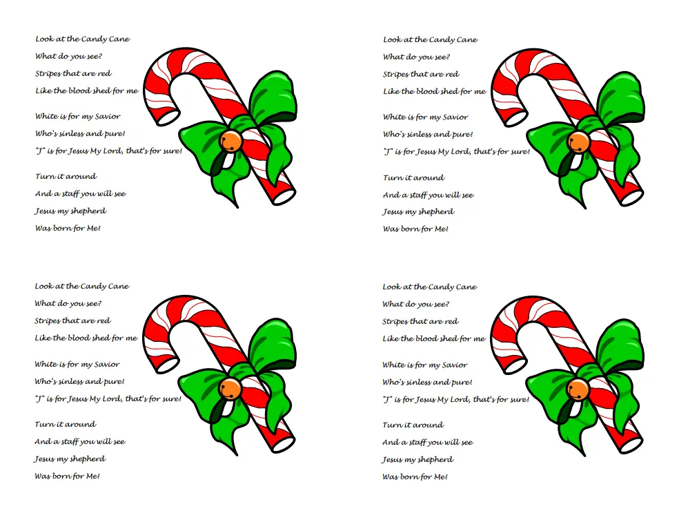 Candy Cane Poem about Jesus (Free Printable PDF Handout