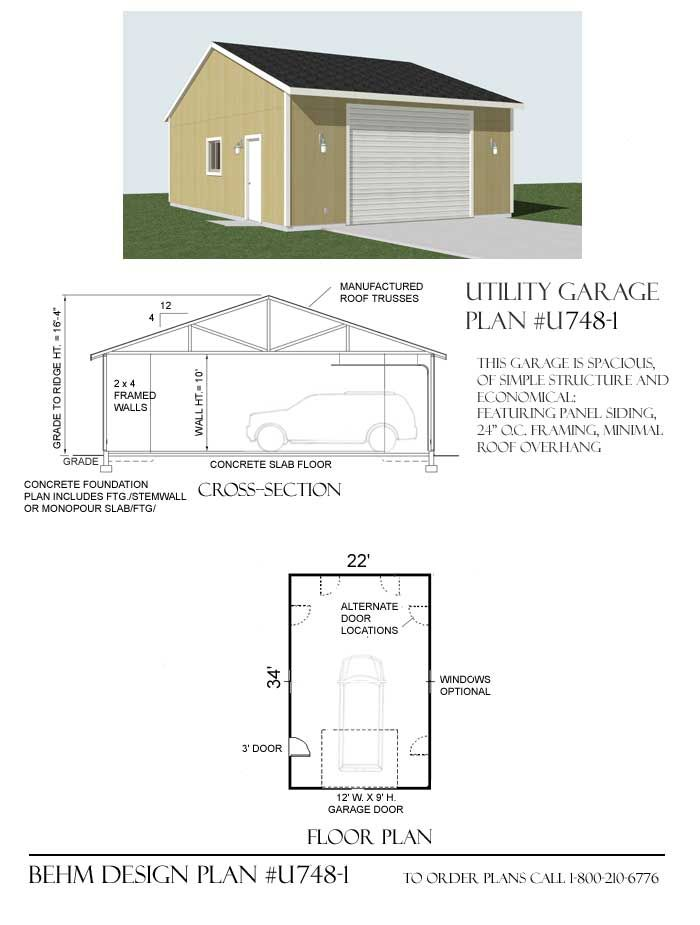 Utility 1 Car Reverse Gable Garage Plan U748 1 By Behm