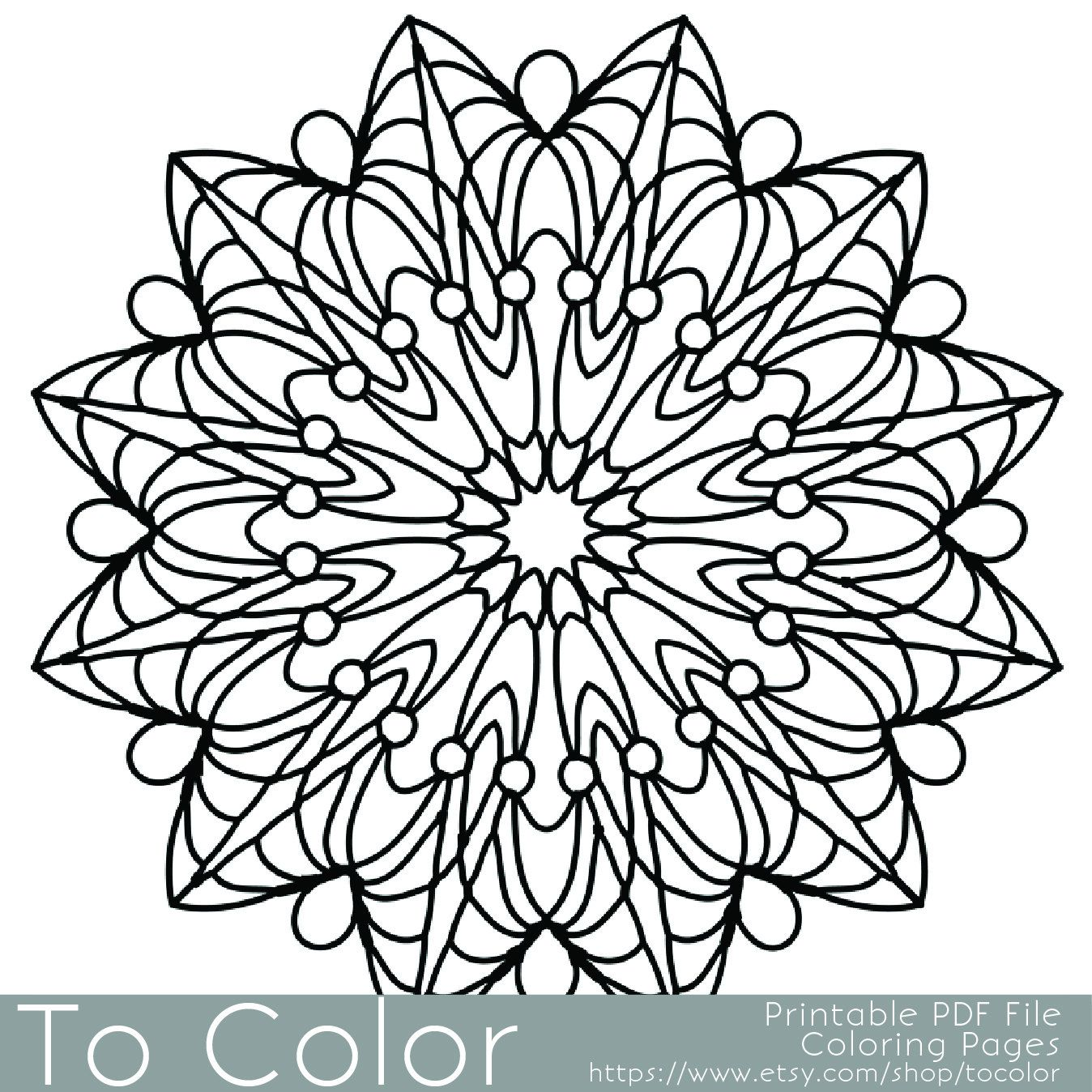 Simple Printable Coloring Pages For Adults Gel Pens Mandala Pattern PDF JPG Instant Download Book Sheet Grown Up By ToColor On Etsy