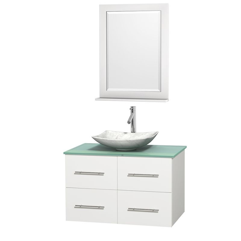 "Wyndham Collection WCVW00936SWHGGOVM24 36"" Wall Mounted Vanity Set with Hardwood Arista White Carrera Marble Sink Fixture Vanity Single"
