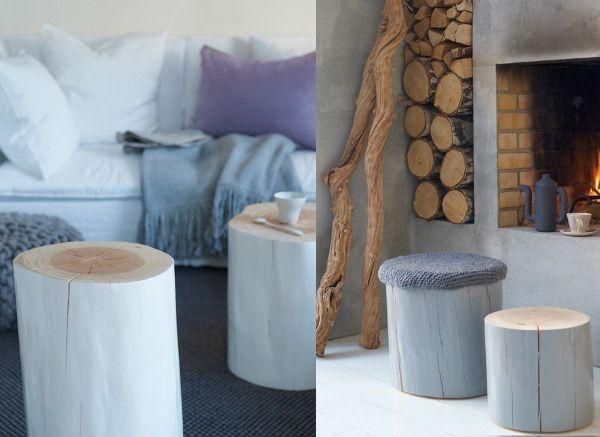Interieur | Natuurlijk wonen met een boomstam tafel of tak als kapstok • Stijlvol Styling •