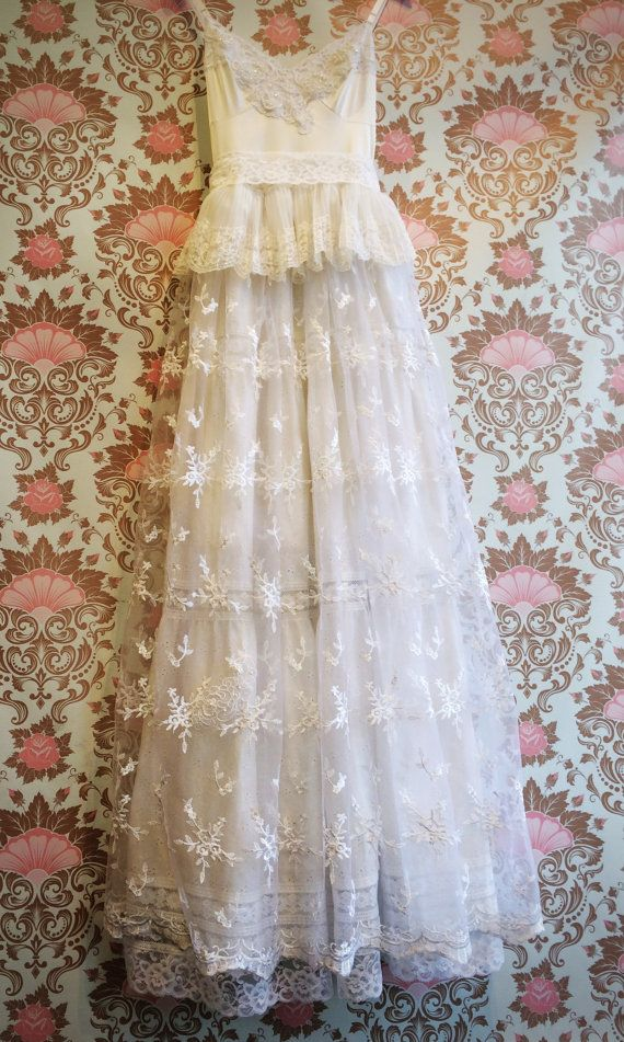 Bright White Lace Eyelet Embroidered Tulle Boho Princess Tiered Wedding Dress By Mermaid Miss K