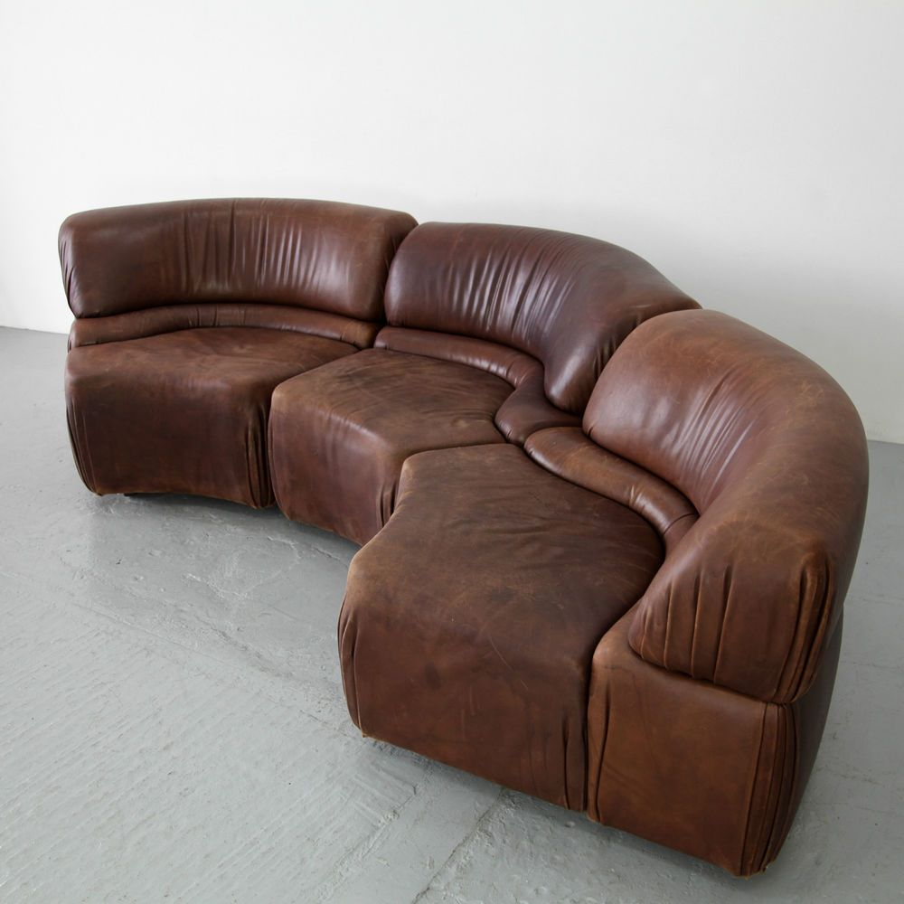 Three Parts Sofa Set De Sede Leather Lounge Group 60s Sofe Elemente Leder Leather Lounge