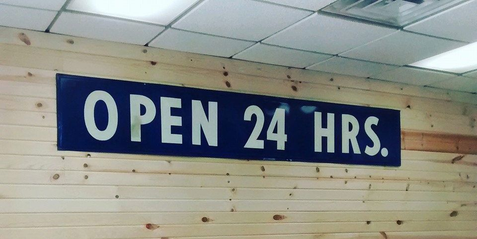 Man Cave Hours : Open 24 hrs. sign; hours gas station sign