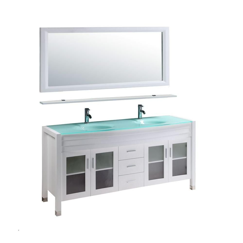 Kokols Amriel 59 In Double Vanity In White With Glass Vanity Top