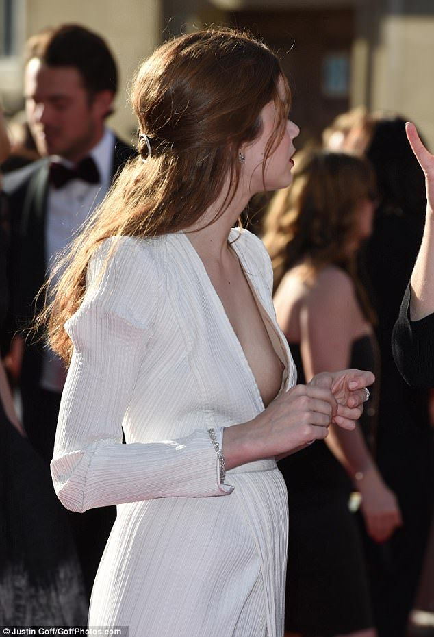 Oops The Stunning Actress Suffered An Accidental Nip Slip As She Hit The Red Carpet At The Royal Albert Hall In Kensington In A Very Daring White Dress