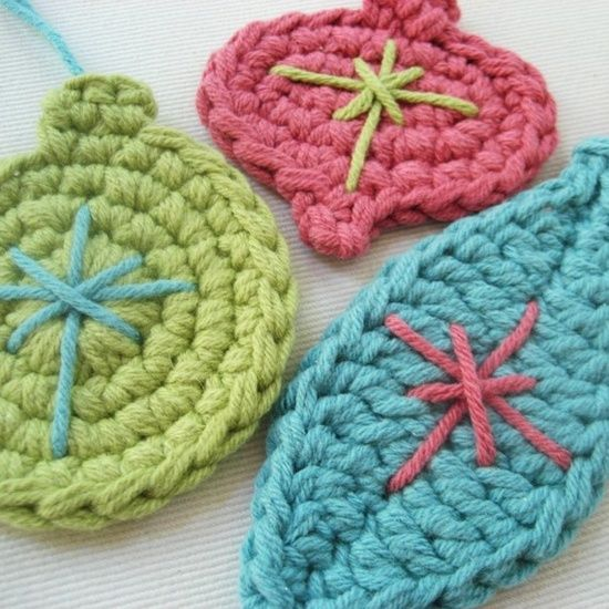Cute crocheted ornaments.  I like the different colors for the holiday!