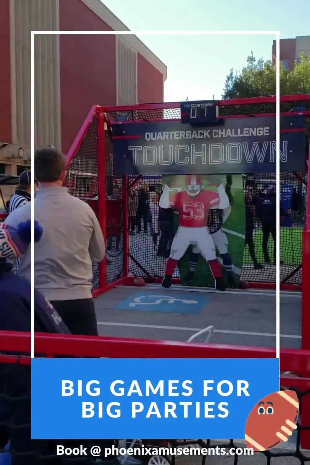 Big Games for Big Parties - How many footballs can you make in less than 20 seconds?  Awesome outdoor game that can also be brought indoors too! #partyplanners #eventideas #funactivities #fungames #eventinspiration #corporateevents #eventservices #eventprofs #eventplanning #eventplanner #PhoenixAmusements