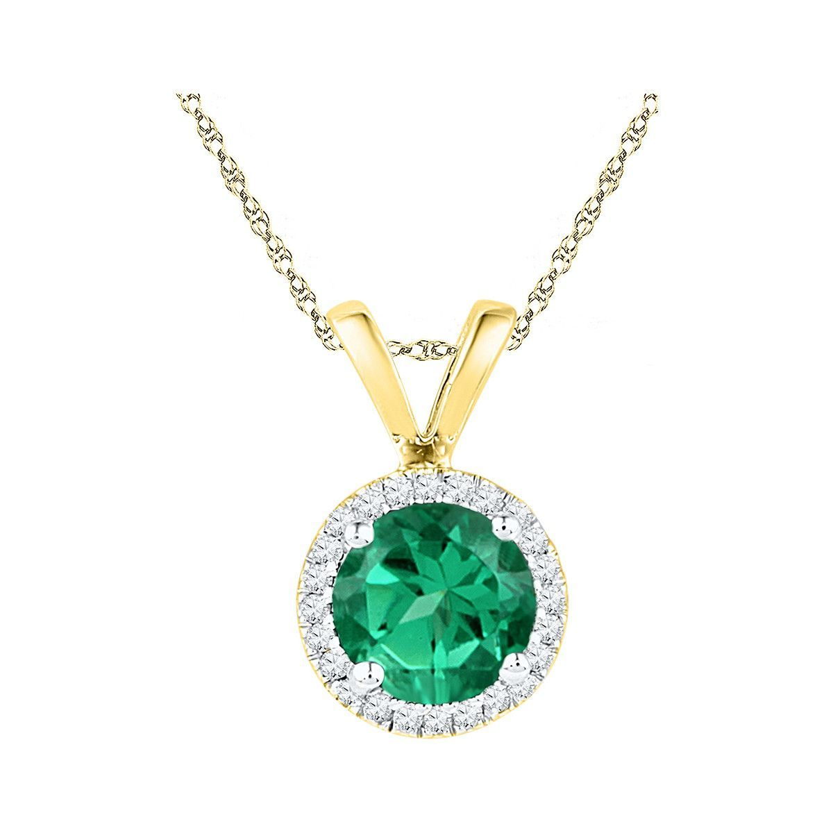10k yellow gold womens lab created emerald solitaire diamond halo 10k yellow gold womens lab created emerald solitaire diamond halo fashion pendant 7 mozeypictures Image collections