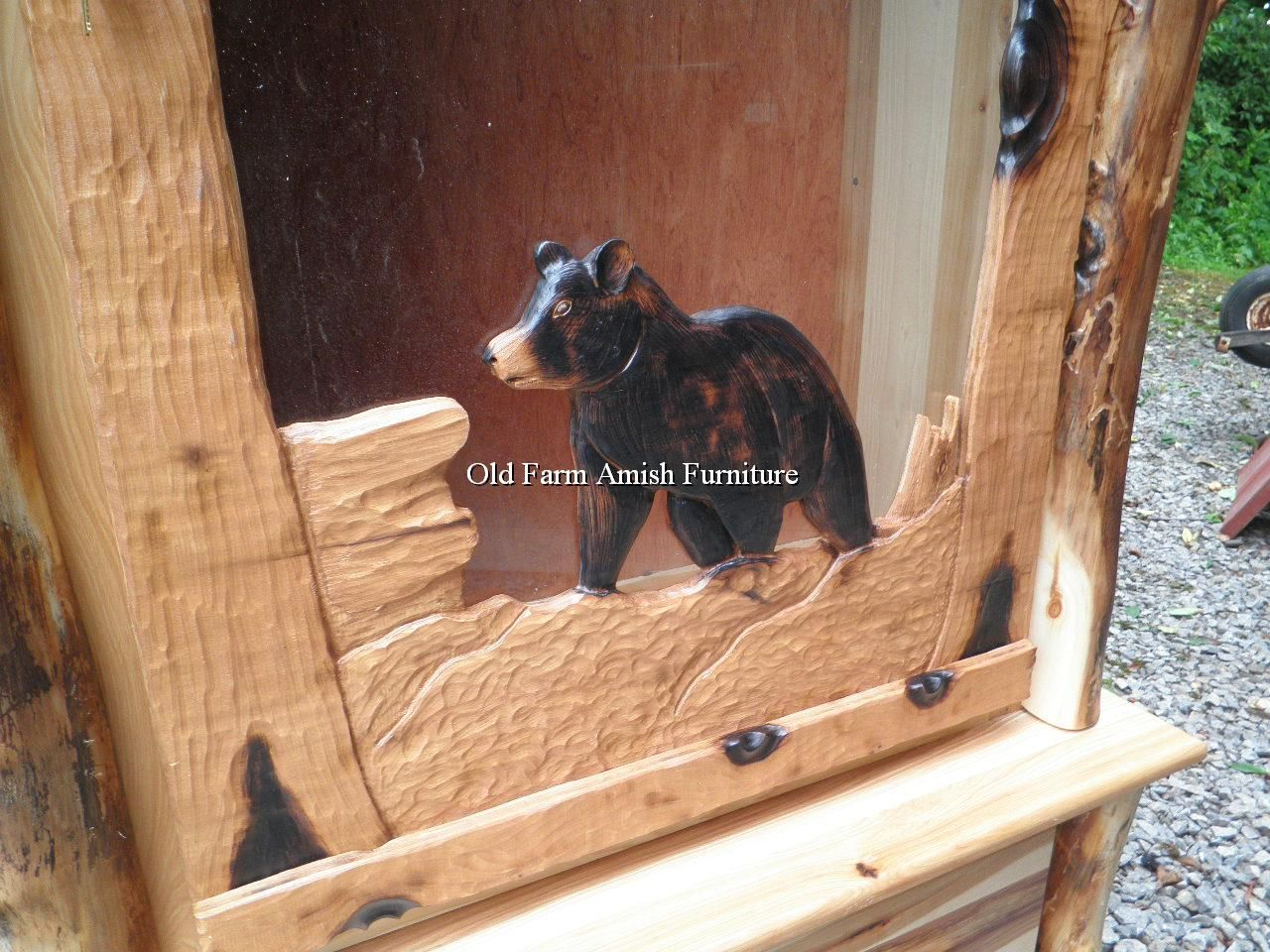 Pin On Handcarved Log Buck Gun Cabinet Pa Amish Made