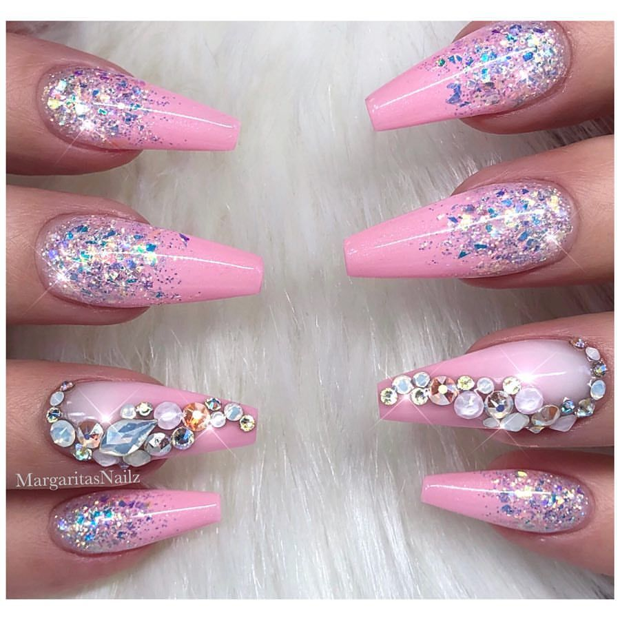 Baby Pink Barbie Nails Glitter Ombr Bling Nail Art Design Nails