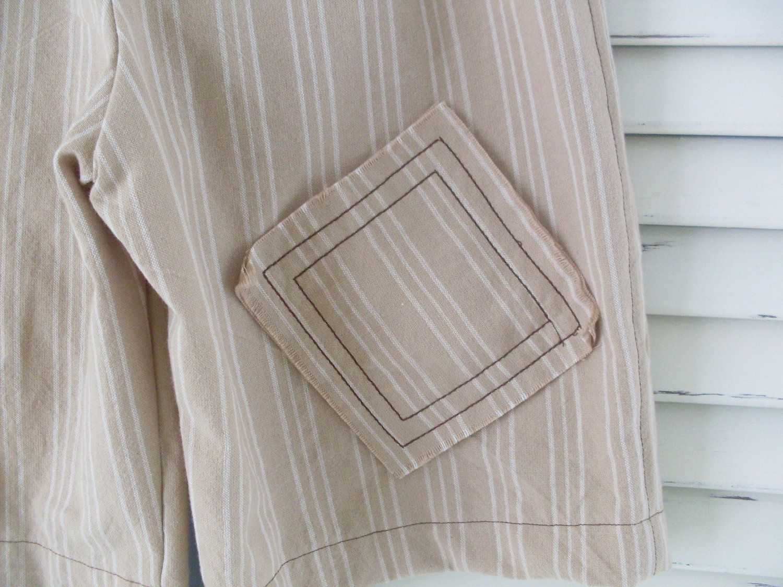 Boys Linen Shorts Striped khaki summer boy by LilHootBrand on Etsy, $26.00