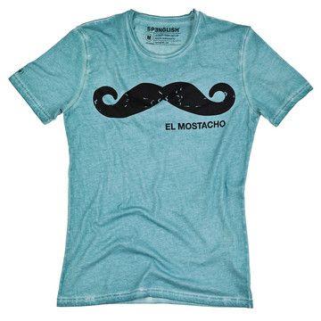El Mostacho Tee Aqua, $29, now featured on Fab.