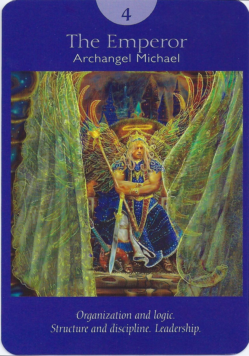4 The Emperor   Archangel Michael, Deck: Angel Tarot Cards, By Doreen  Virtue And Radleigh Valentine.