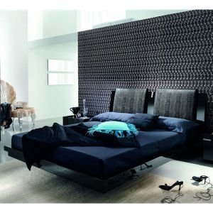 Black Diamond Leather Platform Bed