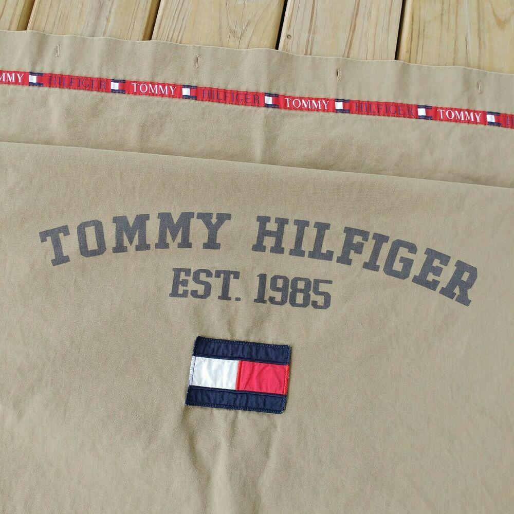 Vtg 90 S Tommy Hilfiger Shower Curtain Brown Tan Khaki Canvas