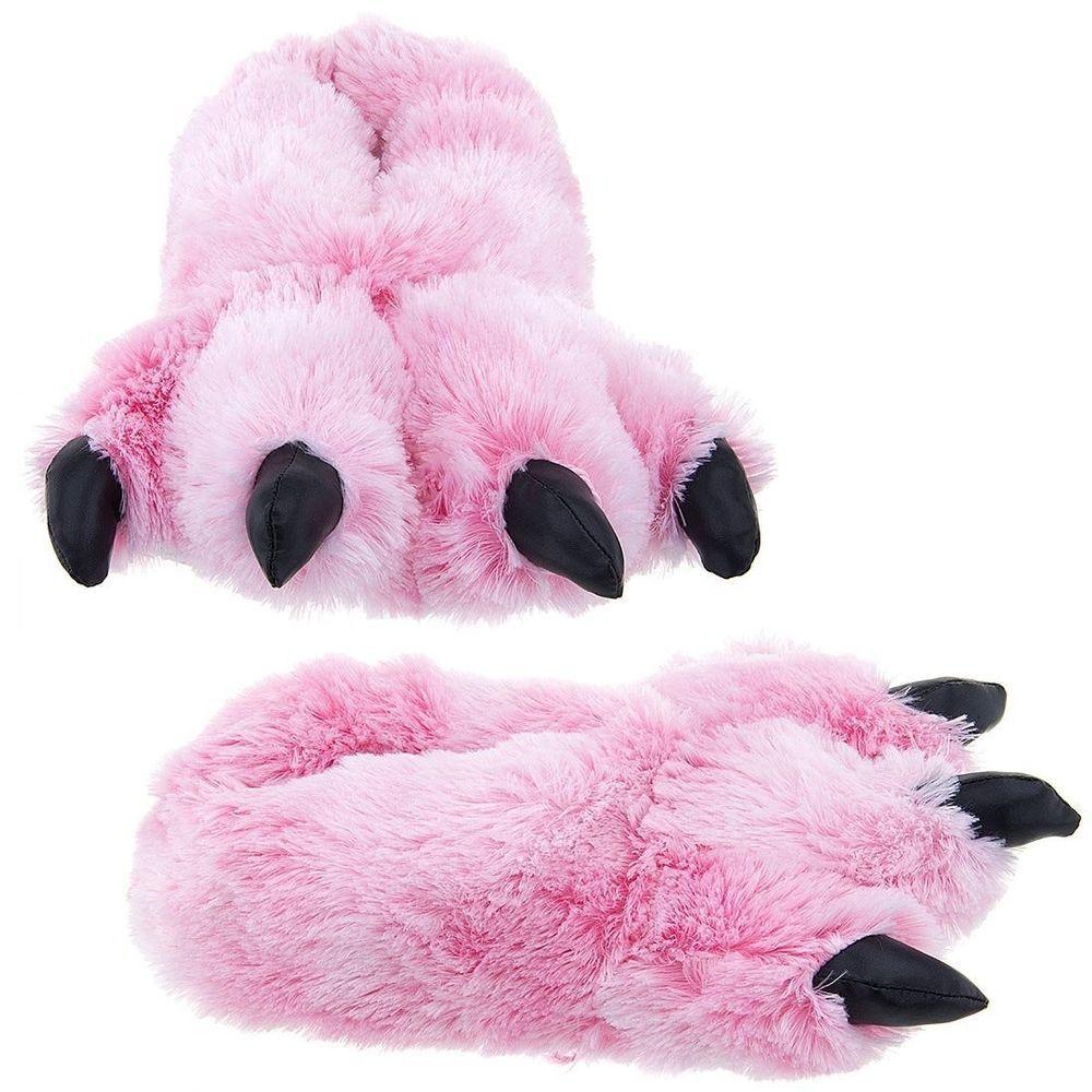 b1e07250c64 Wishpets Grizzly Pink Bear Animal Furry Fuzzy Soft Paw Claw Slippers Shoe