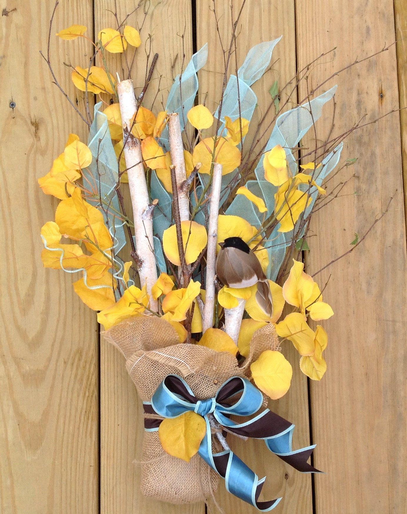 Aspen wreath, fall door hanging, birch twig wreath, autumn yellow ...