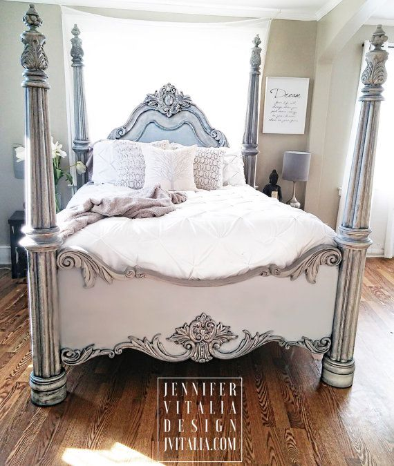 Sold Queen Poster Bed Handpainted Gray Romantic Bed Frame Deposit For Nora Bed Makeover Victorian Bed Bed Frame