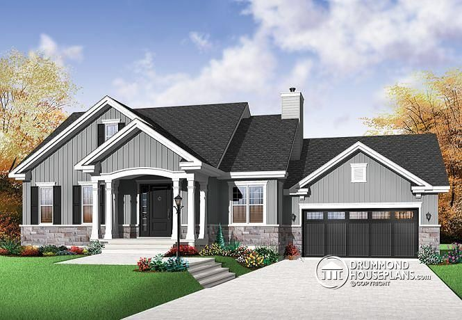 W3236 v1 craftsman bungalow open living concept two for Bungalow plans with garage