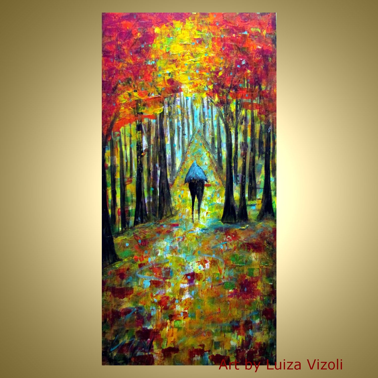 Original Abstract Modern Oil Painting Wall Decor Landscape Trees ...
