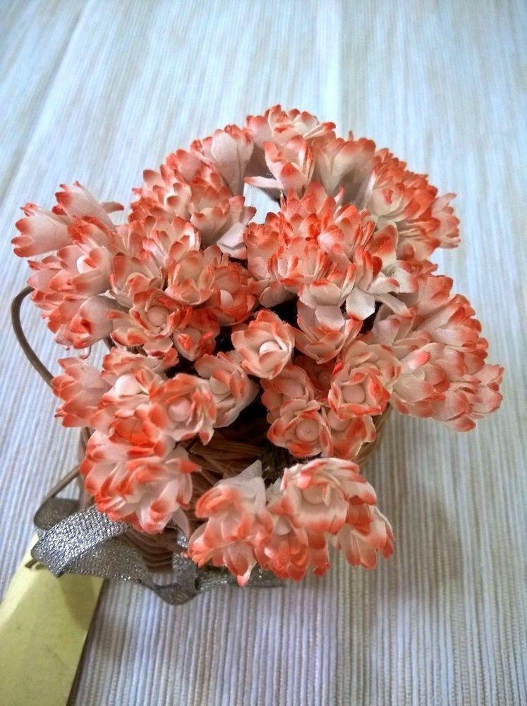 50 White Orange Gypso Mulberry Paper Flower Craft Wedding