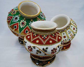Indian decorative pots  Pottery painting designs, Decorative pots