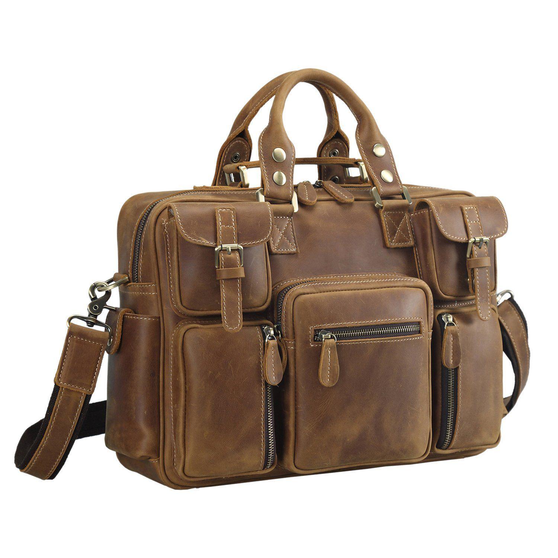 Polare Men s Vintage Thick Cowhide Leather Messenger Shoulder Travel Bag  Satchel Briefcase af9cdd909bae6