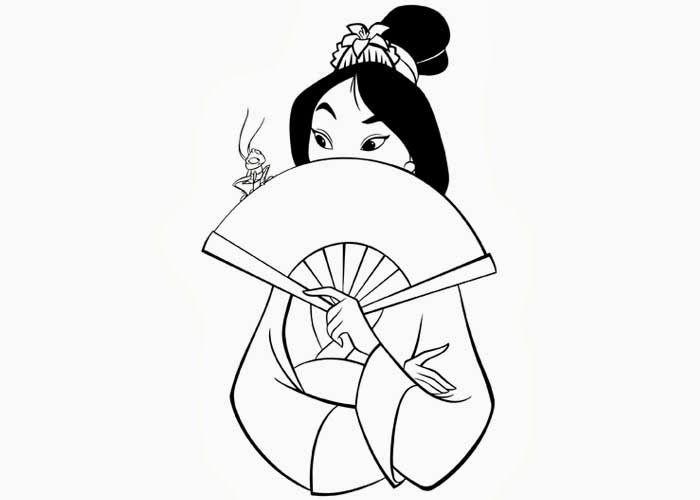 Mulan Coloring Page Disney | y Blank Pattern ~ Mulan Disney ...