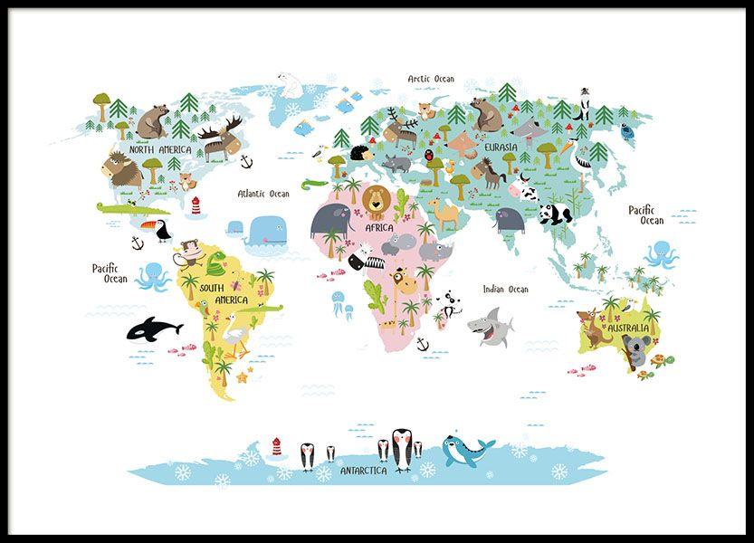Kinderposter mit Weltkarte und Tieren. Tolles Poster mit herrlichen ...
